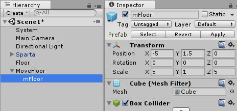 MoveFloorの子オブジェクトに動かす床mFloorを配置。