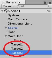 空のゲームオブジェクトを目的地に配置。