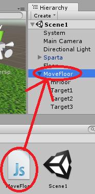 MoveFloorスクリプトをゲームオブジェクトMoveFloorにアタッチ