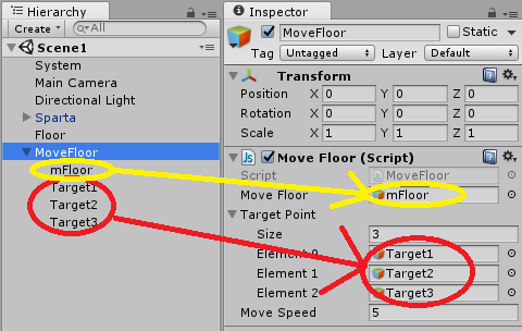 Target PointのSizeを変更して目的地を設定。