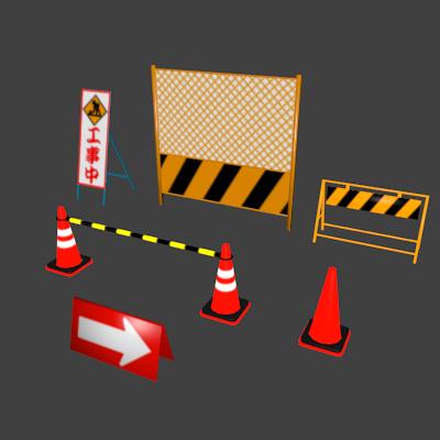 工事現場の3Dモデルセット