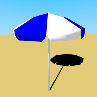 青と白のパラソルの3Dモデル