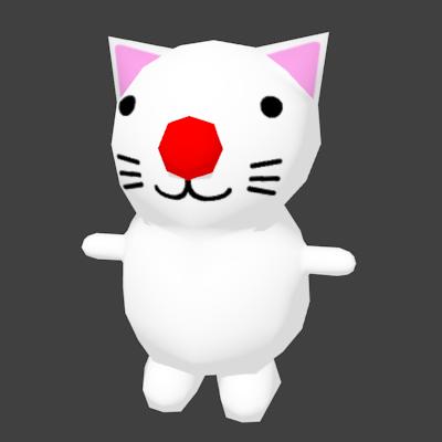 赤鼻の白猫の3Dモデル